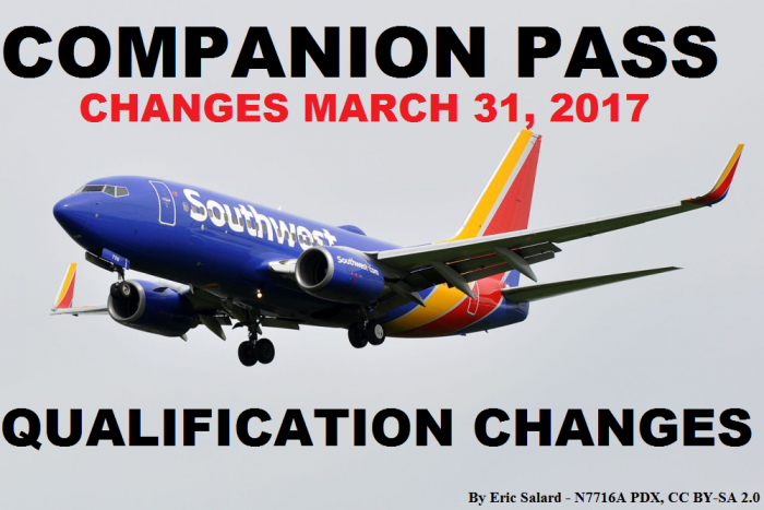 Southwest Airlines Companion Pass Qualification Changes March 31 2017