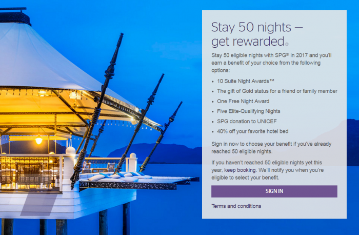 Starwood Preferred Guest (SPG) 50 Nights Benefit Selection 2017