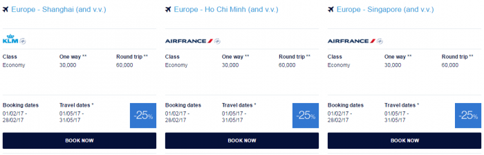 Air France - KLM Flying Blue Promo Awards February 2017 Asia Pacific 2