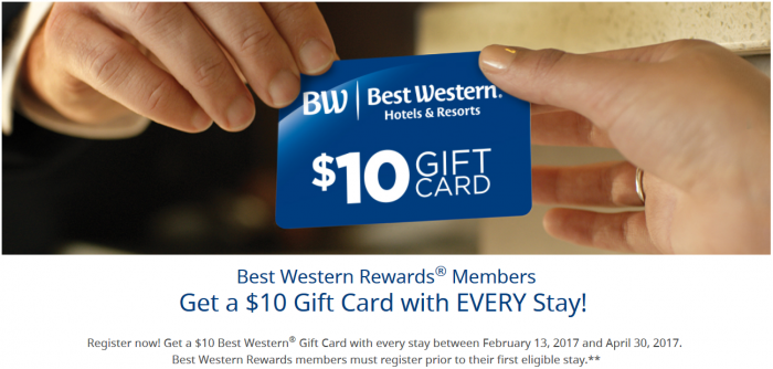 Best Western Rewards $10 Gift Card Per Stay February 13 - April 30 2017