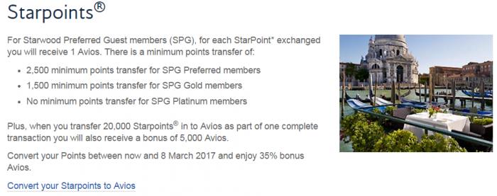 British Airways Execuitve Club Hotel Points To Avios Conversion Bonus February 2017 SPG Starpoints