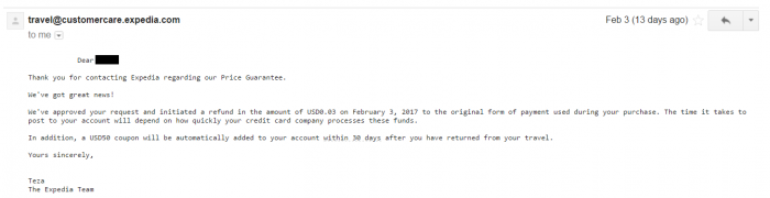 Expedia Best Price Guarantee Email Confirmation