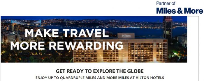 Hilton HHonors Lufthansa Miles&More Up To Quadruple Miles February 1 - April 30 2017