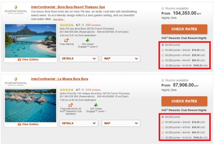 IHG Rewards Club Points + Cash Discount ICs Bora Bora