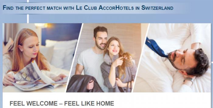 Le Club AccorHotels Switzerland Bonus Points February 13 - May 13 2017