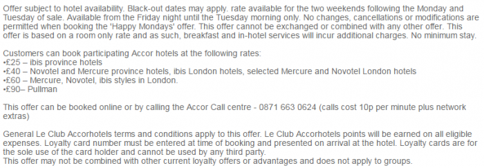 Le Club AccorHotels UK & Ireland Happy Monday 2017 T&Cs