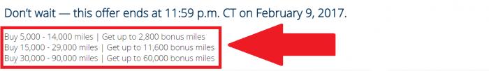 United Airlines MileagePlus Buy Miles February 2017 Flash Sale Bonus