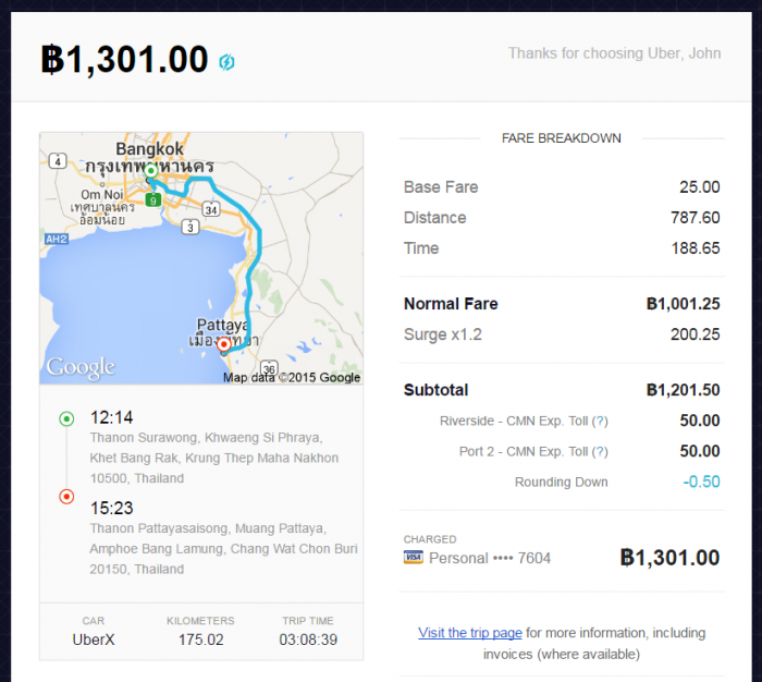 Your Longest Uber Trip Price Pattaya