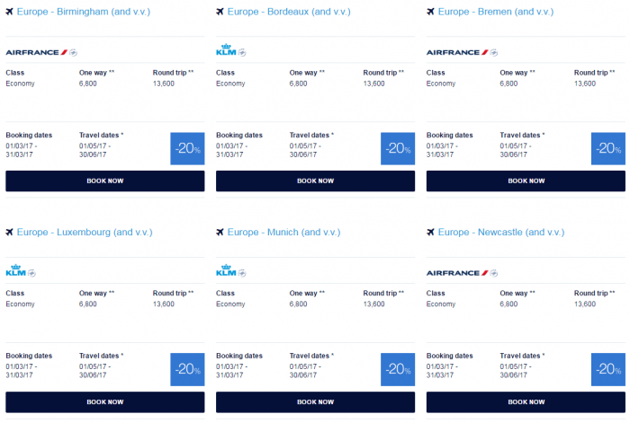 Air France-KLM FLying Blue March 2017 Promo Awards Europe 1