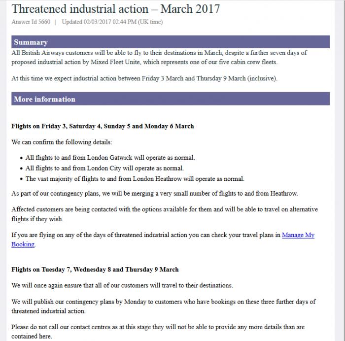 British Airways Mixed Fleet Sevent Strike