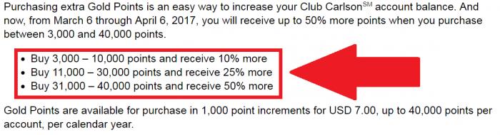 Club Carlson Buy Points Up To 50 Percent Bonus March 6 - April 6 2017 Bonus Table