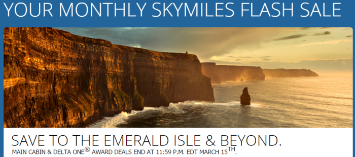 Delta Air Lines SkyMiles Europe Delta One March 2017 Flash Sale