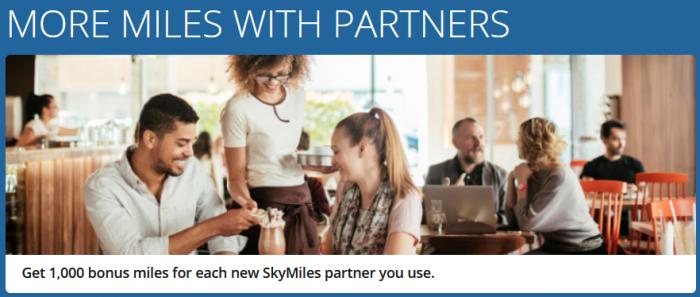 Delta SkyMiles 1000 Bonus Miles Per Partner March 24 - June 30 2017