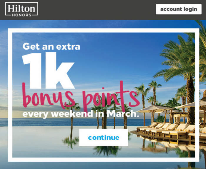Hilton Honors 1,000 Bonus Points Weekend Nights March 2017 Targeted