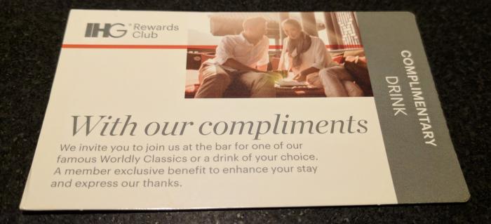 IHG Rewards Club Complimentary Drink Voucher Front