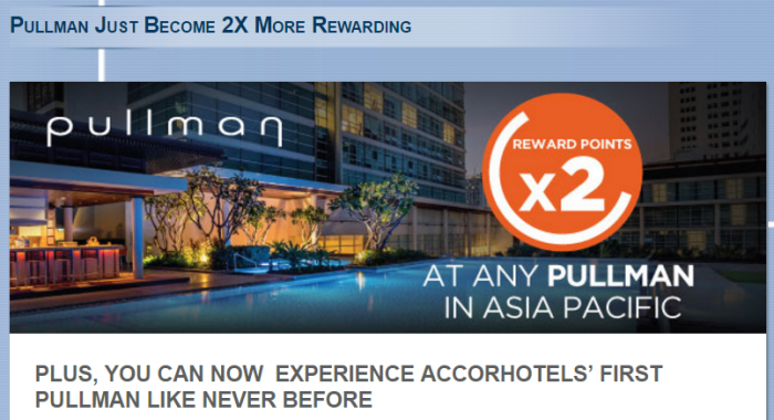 Le Club AccorHotels Asia-Pacific Pullman Double Points March 1 - May 31 2017