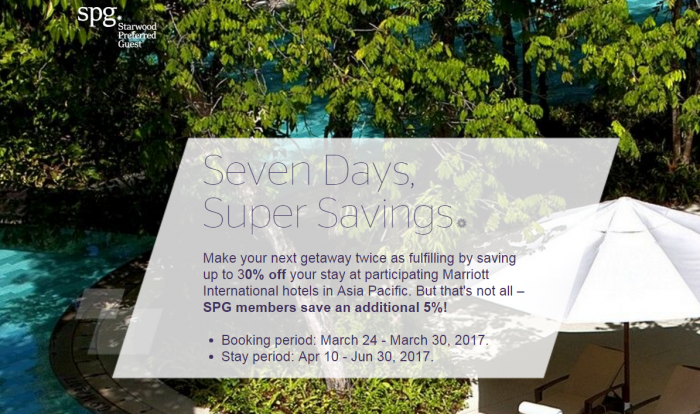 Starwood SPG Asia-Pacific Up To 35 Percent Off Sale March 2017