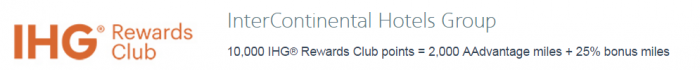 American Airlines AAdvantage Hotel Points To Miles Conversion Bonus April 28 - June 15 2017 IHG Rewards Club U