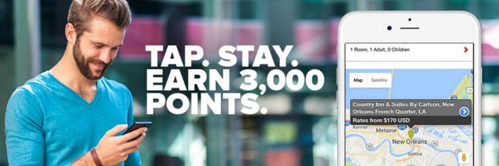 Club Carlson 3,000 Points App Bookings Bonus April 3 - December 31 2017