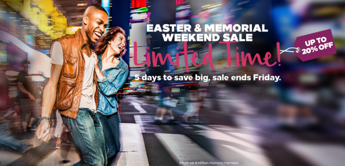 Hilton Honors Easter & Memorial Day Americas + Caribbean Up To 20 Percent Off Sale