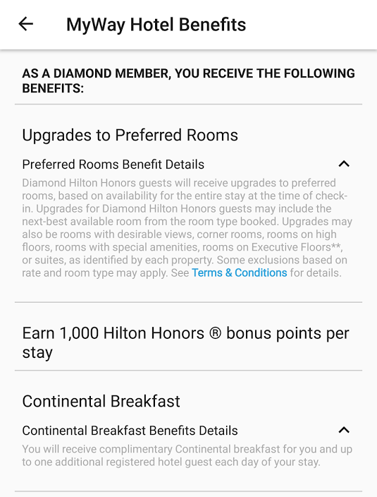 Hilton Honors Tru & Tapestry Collection Gold & Diamond Benefits Tapestry Collection