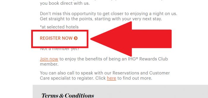IHG Rewards Club Book Direct Register