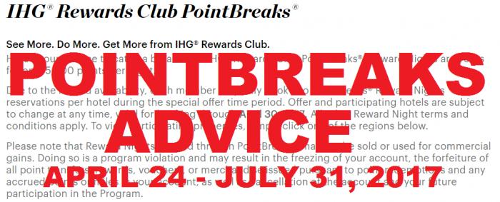 IHG Rewards Club PointBreaks Advice April 24 2017