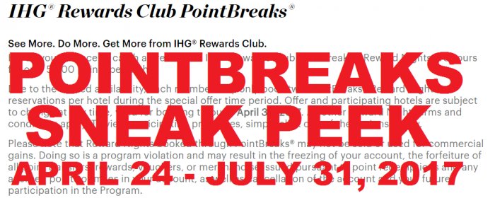 IHG Rewards Club PointBreaks Preview April 24 - July 31 2017