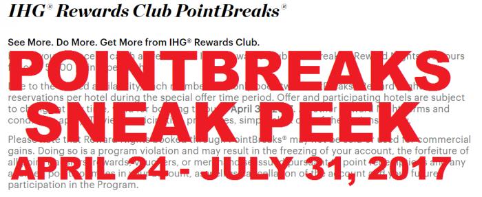 IHG Rewards Club PointBreaks Preview April 24 - July 31 2017