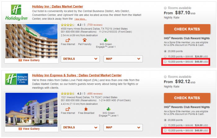 IHG Rewards Club Points & Cash Dallas