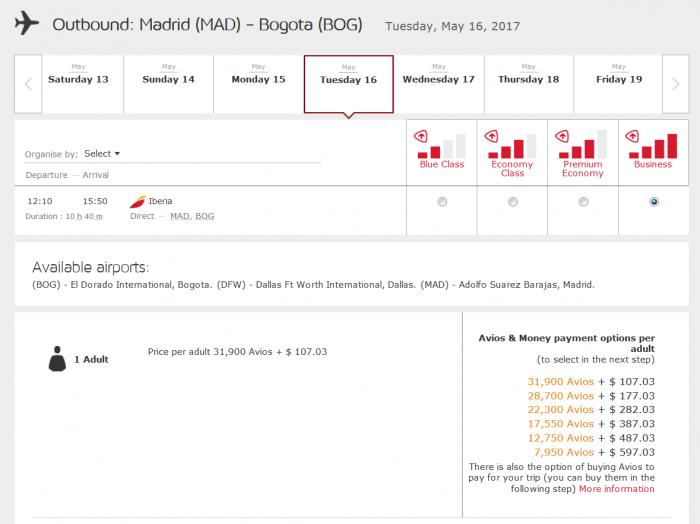 Iberia Plus 25 Percent Award Discount 2017 MAD-BOG