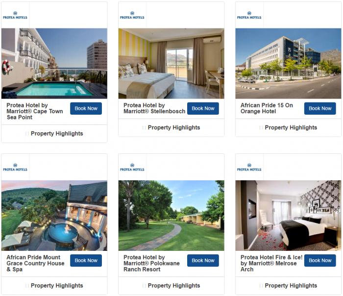 Marriott Rewards South Africa 1,000 Bonus Avios Per Stay May 1 - August 27 2017 Hotels 3