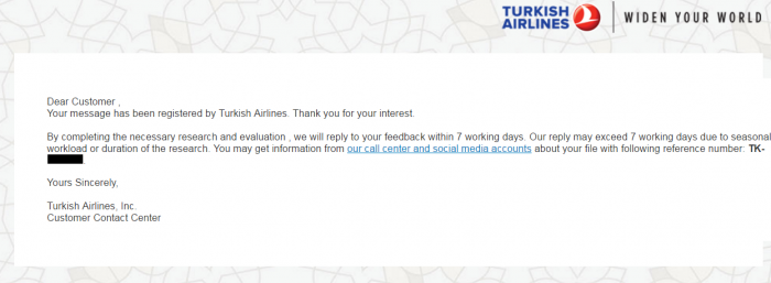 Turkish Airlines Flight Delay Compensation First Reply U