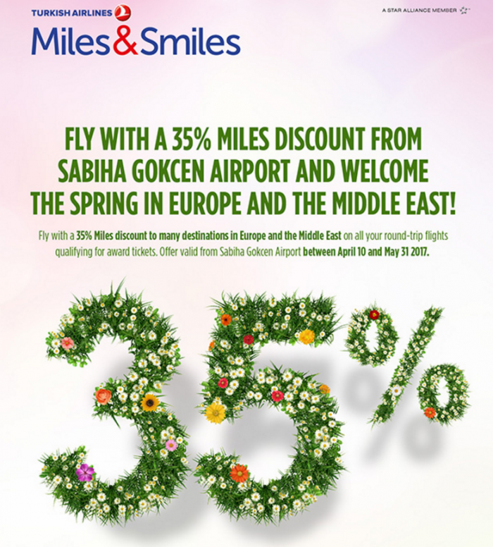Turkish Airlines Miles&Smiles 35 Percent Discount SAW