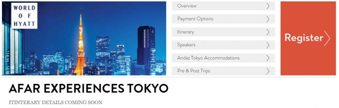 World Of Hyatt AFAR Tokyo Experience Schedule