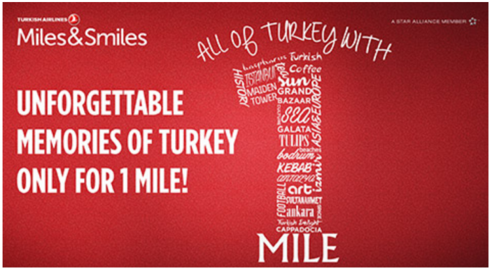 Turkish Airlines Miles&Smiles 1 Miles To From Istanbul Economy Award Sale May 7 - July 14 2017