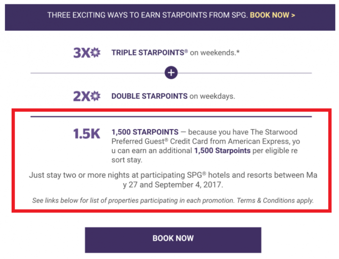 UPDATE SPG Take Three Promotion May 27 - September 4 2017 DB