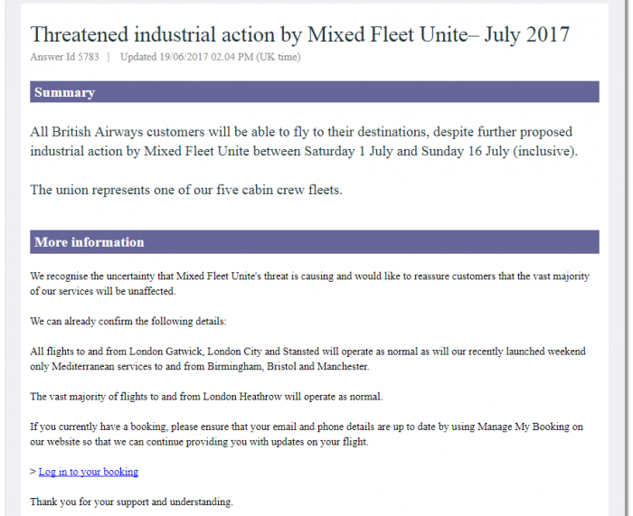 BA Strike Announcement Update