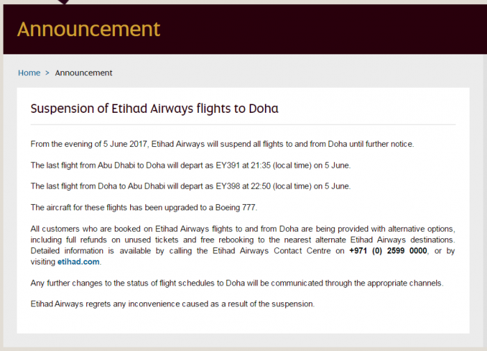 Etihad Flight Suspensions Doha U