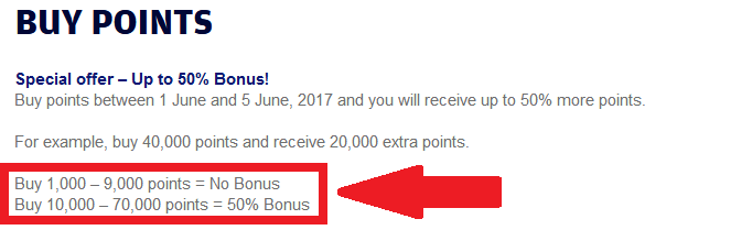 Finnair Buy Points June 2017 Campaign Table