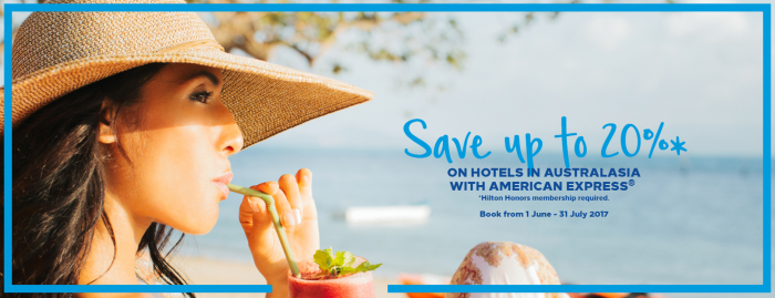 Hilton Honors Amex Australia 20 Percent Off Sale June 6 - January 31 2018 (Book By July 31)