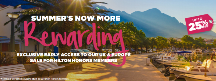 Hilton Honors UK & Europe Summer Weekends Sale For Stays June 16 - October 8, 2017