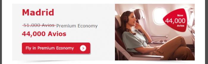 Iberia Plus Avios Premium Economy Discount Example