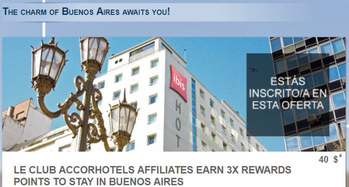 Le Club AccorHotels Buenos Aires Triple Points June 6 - July 31 2017