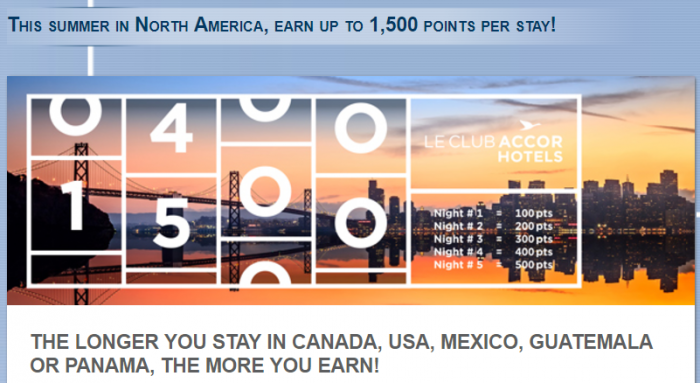 Le Club AccorHotels North America Up To 1,500 Bonus Points Per Stay July 1 - September 30 2017