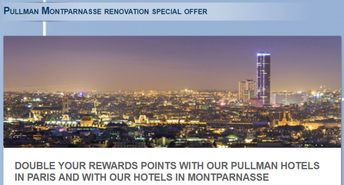 Le Club AccorHotels Pullman & Montparnasse Double Points September 1 - December 31 2017