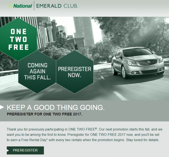 National Emerald Club One Two Free
