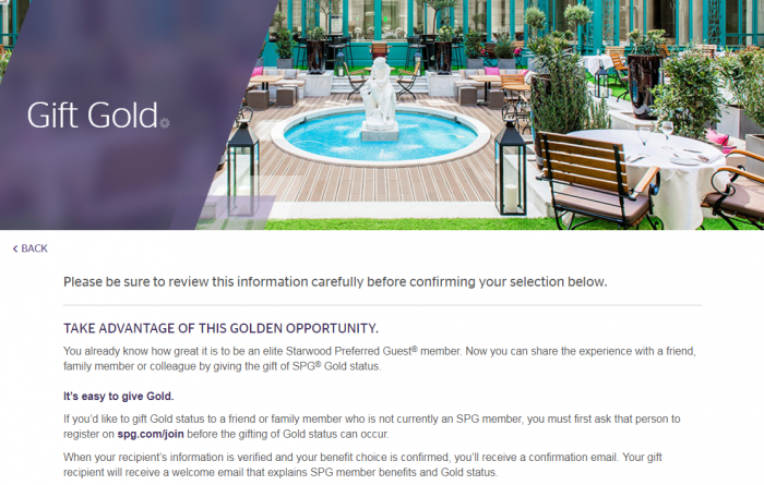 SPG 50 Nights Benefit Choice GOLD