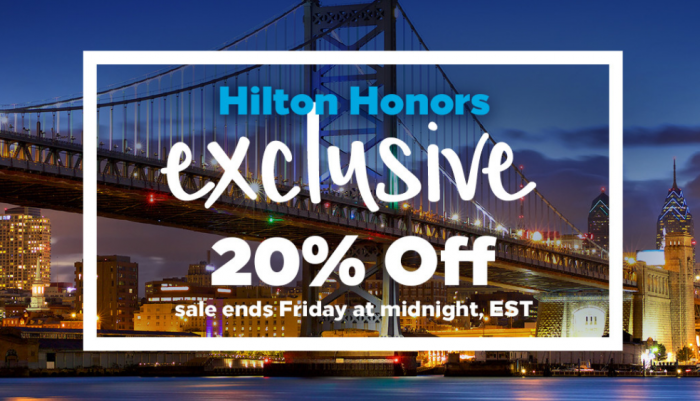 Hilton Honors 20 Percent Off Select Cities Until October 23 2017 U