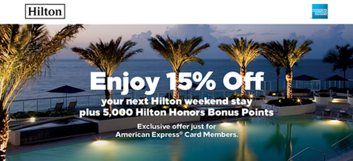 Hilton Honors American Express 15 Percent Off + 5000 Bonus Points Jul 27 - October 17 2017